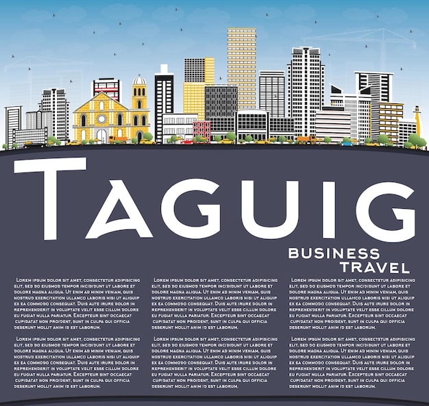 Horizonte da cidade de taguig filipinas com edifícios coloridos, céu azul e espaço para cópia