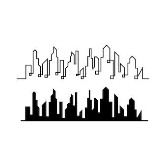 Horizonte da cidade moderna. silhueta da cidade. ilustração vetorial em design plano