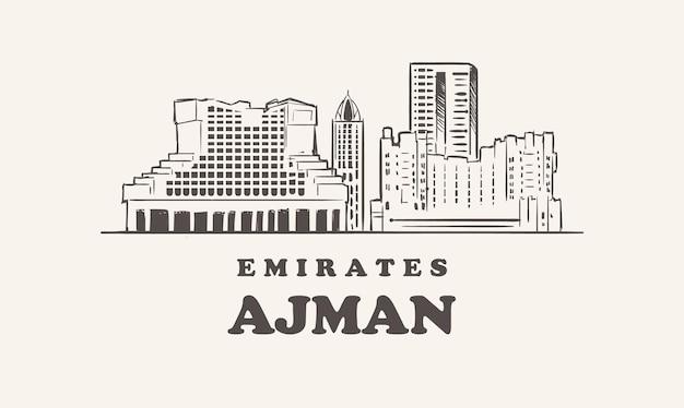 Horizonte de ajman, ilustração desenhada à mão emirados
