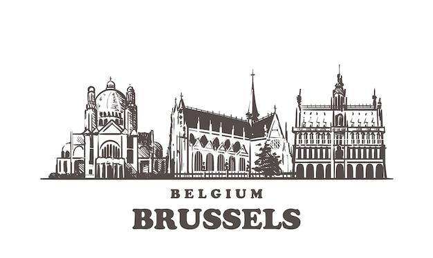Horizonte de bruxelas, bélgica Vetor Premium