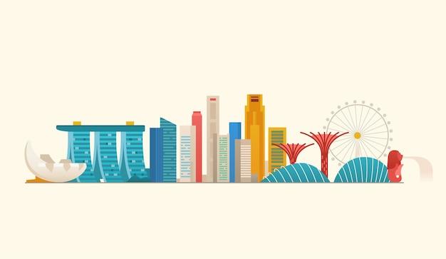 Horizonte de cingapura lugares e pontos de referência famosos
