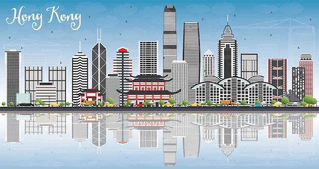 Horizonte de hong kong com edifícios cinzentos, céu azul e reflexos. ilustração vetorial. viagem de negócios e conceito de turismo com arquitetura moderna. imagem para cartaz de banner de apresentação e site.
