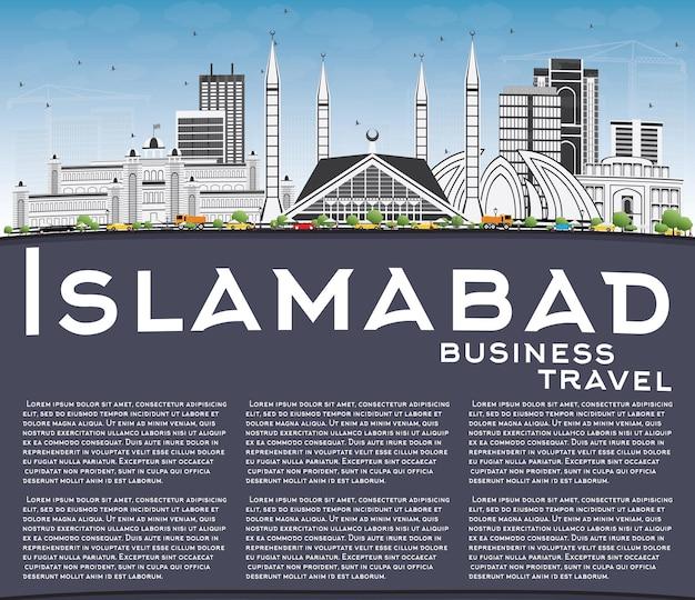 Horizonte de islamabad com edifícios de cinza, céu azul e espaço de cópia. ilustração vetorial. viagem de negócios e conceito de turismo com arquitetura histórica. imagem para cartaz de banner de apresentação e site.