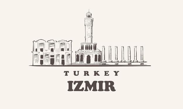 Horizonte de izmir, ilustração desenhada à mão na turquia