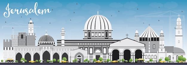 Horizonte de jerusalém com edifícios cinzentos e céu azul. viagem de negócios e conceito de turismo