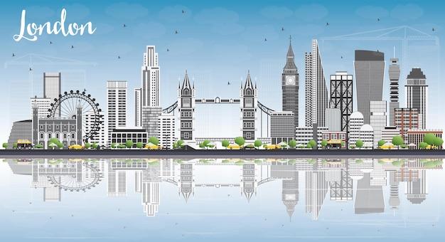 Horizonte de londres com edifícios de cinza, céu azul e reflexões. ilustração vetorial.
