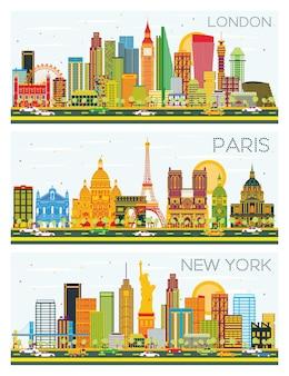 Horizonte de londres, paris, nova york com edifícios de cor e céu azul. ilustração vetorial. viagem de negócios e conceito de turismo com arquitetura histórica.