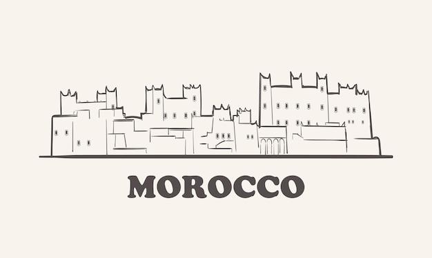 Horizonte de marrocos, cidade de esboço desenhado à mão