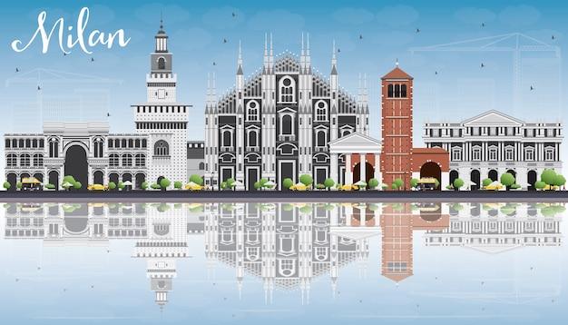 Horizonte de milão com edifícios históricos