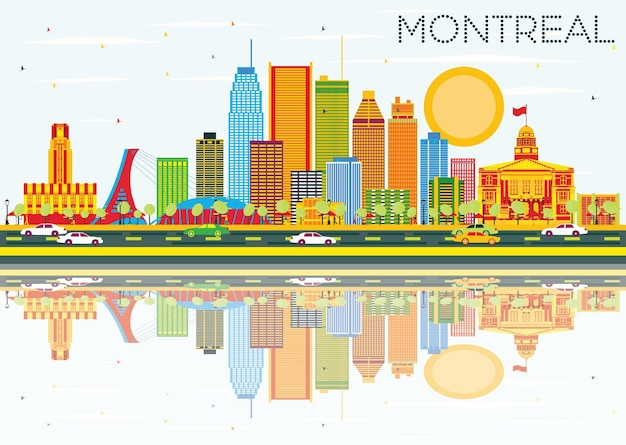 Horizonte de montreal com edifícios coloridos, céu azul e ilustração vetorial de reflexos