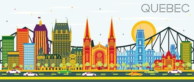 Horizonte de quebec canadá com edifícios de cor e céu azul. ilustração vetorial. viagem de negócios e conceito de turismo com arquitetura histórica. imagem para cartaz de banner de apresentação e site.