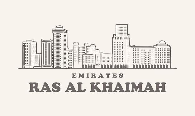 Horizonte de ras al khaimah, ilustração desenhada à mão emirados