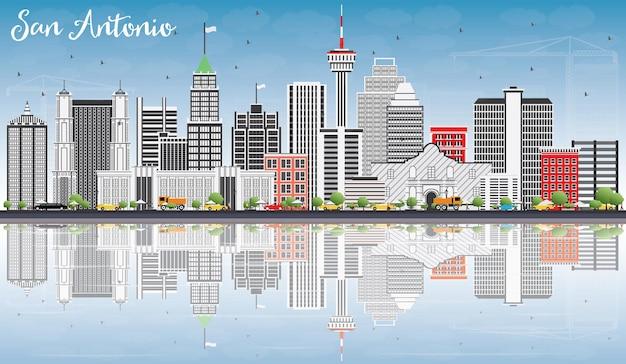 Horizonte de san antonio com edifícios cinzentos, céu azul e ilustração vetorial de reflexos