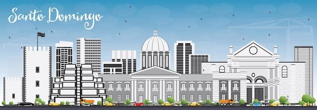 Horizonte de santo domingo com edifícios de cinza e céu azul. ilustração vetorial. viagem de negócios e conceito de turismo com arquitetura moderna. imagem para cartaz de banner de apresentação e site.