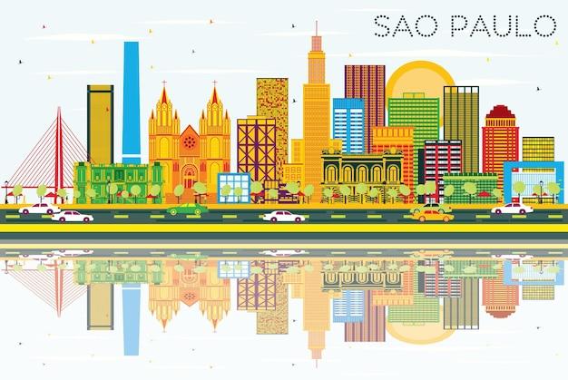 Horizonte de são paulo com edifícios cinzentos, céu azul e reflexos. ilustração vetorial. viagem de negócios e conceito de turismo com edifícios modernos. imagem para cartaz de banner de apresentação e site.