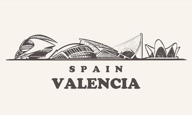Horizonte de valência, ilustração vintage da espanha, edifícios desenhados à mão da cidade das artes e das ciências