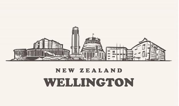 Horizonte de wellington, ilustração vintage da nova zelândia, edifícios desenhados à mão de wellington no fundo branco.
