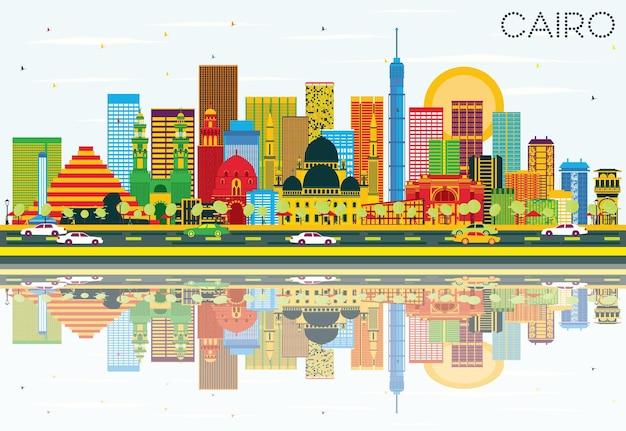 Horizonte do cairo com edifícios de cor, céu azul e reflexos. ilustração vetorial. viagem de negócios e conceito de turismo com edifícios históricos. imagem para cartaz de banner de apresentação e site.