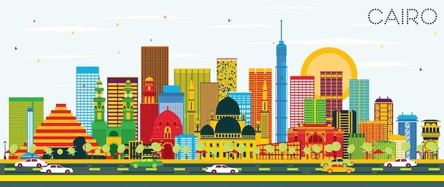 Horizonte do cairo com edifícios de cor e céu azul. ilustração vetorial. viagem de negócios e conceito de turismo com edifícios históricos. imagem para cartaz de banner de apresentação e site.
