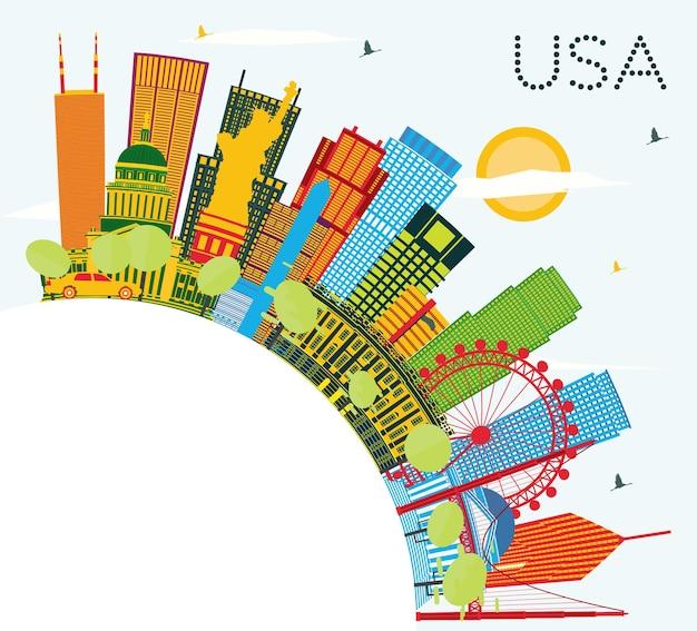 Horizonte dos eua com arranha-céus de cores e pontos turísticos. ilustração vetorial. viagem de negócios e conceito de turismo com arquitetura moderna. imagem para cartaz de banner de apresentação e site.