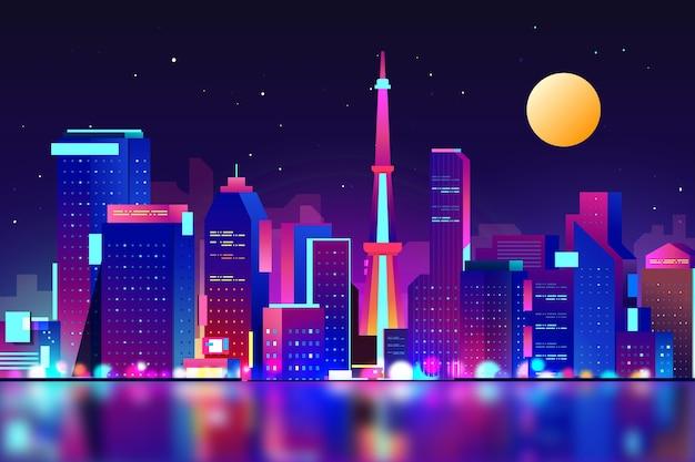 Horizonte gradiente de tóquio com luzes de néon