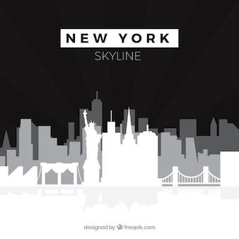 Horizonte preto e branco de nova york