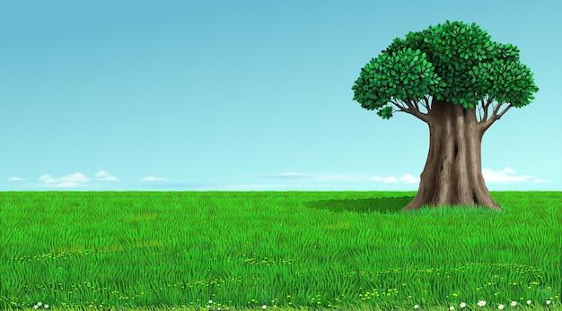 Horizonte verde de fundo com árvore