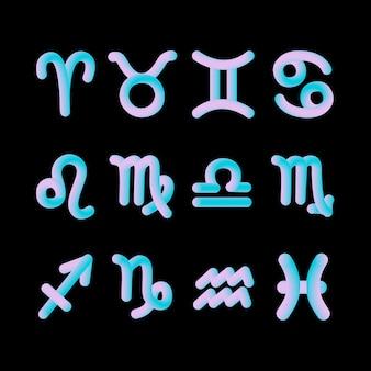 Horoscope zodiac sign 3d shape gráficos de astrologia gradiente