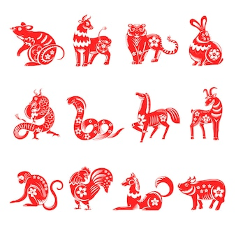 Horóscopo asiático, signos do zodíaco chinês decorados com flores