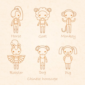 Horóscopo chinês assina cavalo, cabra, macaco, galo, cachorro e porco