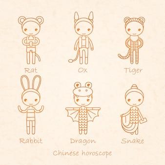 Horóscopo chinês sinais rato, boi, tigre, coelho, dragão e cobra