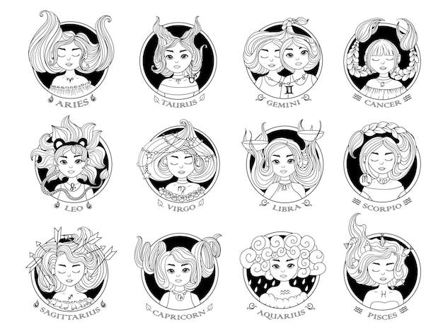 Horóscopo. doze signos do zodíaco com garotas bonitas. conjunto de ícones da astrologia.