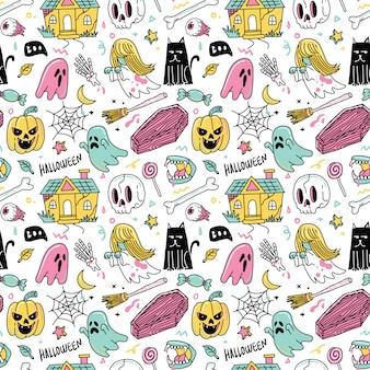 Horror fantasma halloween sem costura padrão design gráfico