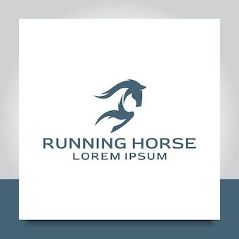 Horse run logo design speed jump race