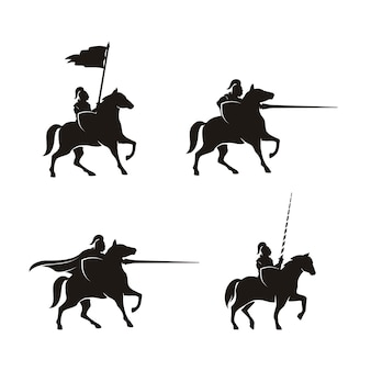 Horseback knight silhouette horse warrior paladin projeto do logotipo medieval