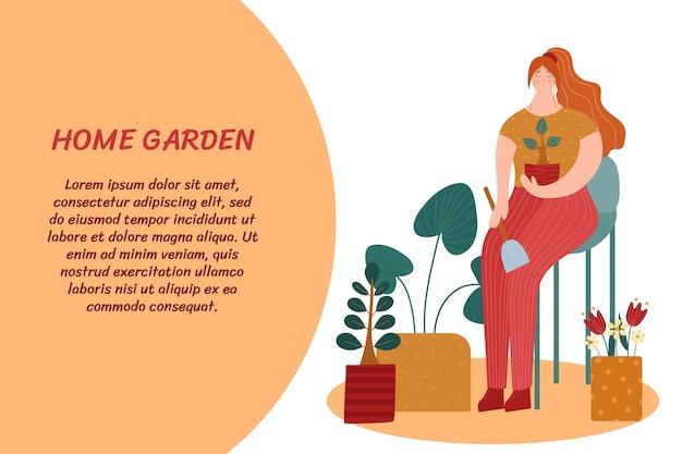 Horta doméstica. uma mulher cuidando de plantas. ilustração com lugar para o seu texto.