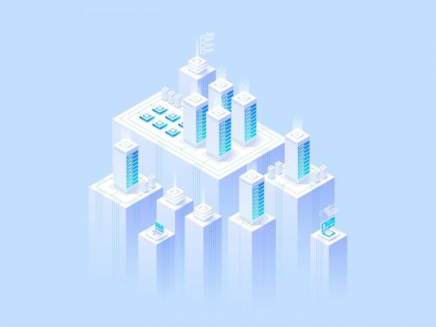 Hospedagem de conceito com armazenamento de dados em nuvem. modelo de cabeçalho