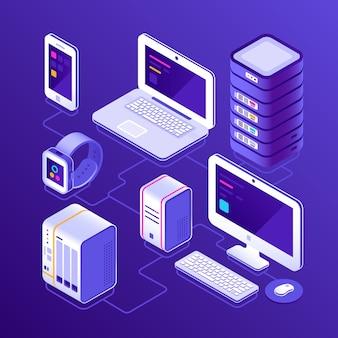 Hospedagem de servidor de dados, pc, laptop, relógio inteligente, nas, smartphone ou celular. dispositivos para negócios isométrica ilustração em vetor 3d