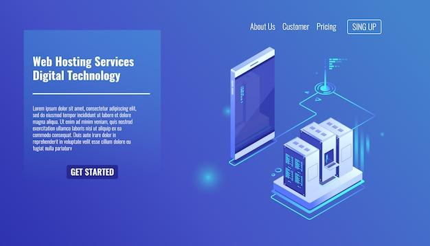 Hospedagem de sites e aplicativos da web, rack de sala de servidores, troca de dados, tráfego de arquivos