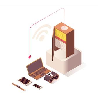 Hospedagem online, servidor, equipamento de hardware de computador e tecnologias iot