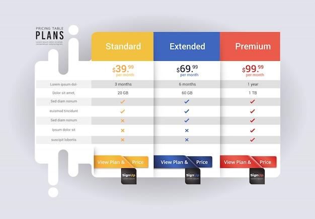 Hospede os preços do banner do site plano. pacote de compra do cliente usado. ilustração