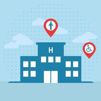 Hospital com símbolos de acessibilidade para deficientes