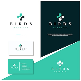 Hospital de aves ou hospital de animais logo design stock with business card design
