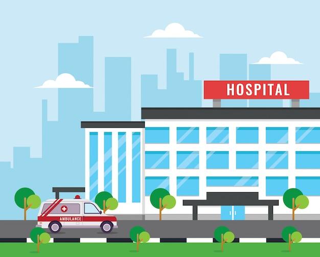 Hospital de construção com ambulância em design plano