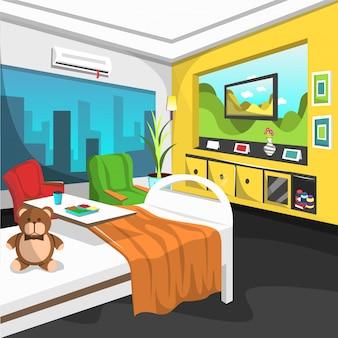 Hospital de crianças com sala de reabilitação para internamento com cama de solteiro