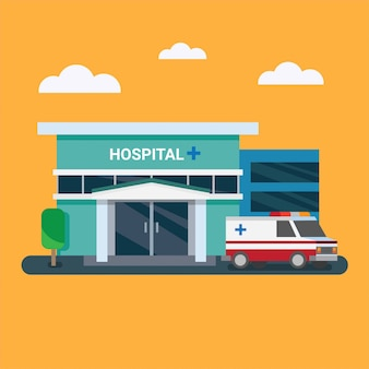 Hospital edifício com ilustração plana de ambulância