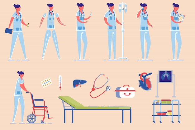 Hospital enfermeira personagem feminina.