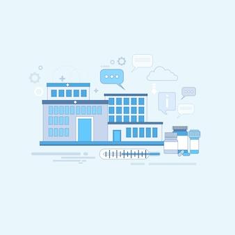 Hospital medical aplicação medicina de cuidados de saúde online banner web linha fina ilustração vetorial