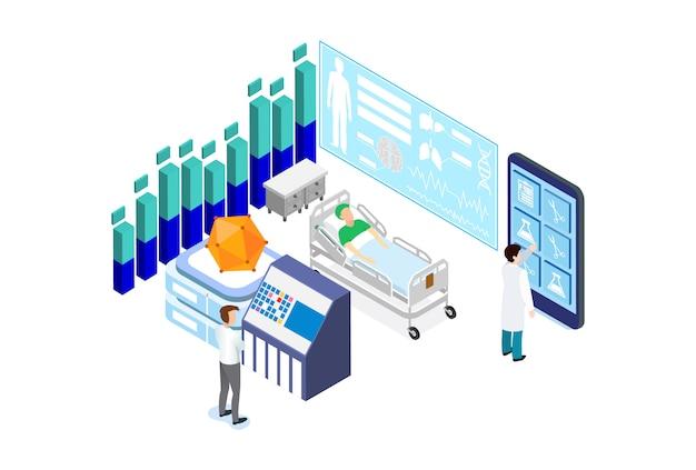 Hospital médico isométrico moderno
