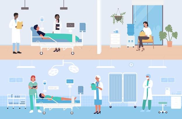Hospital moderno enfermaria com pacientes
